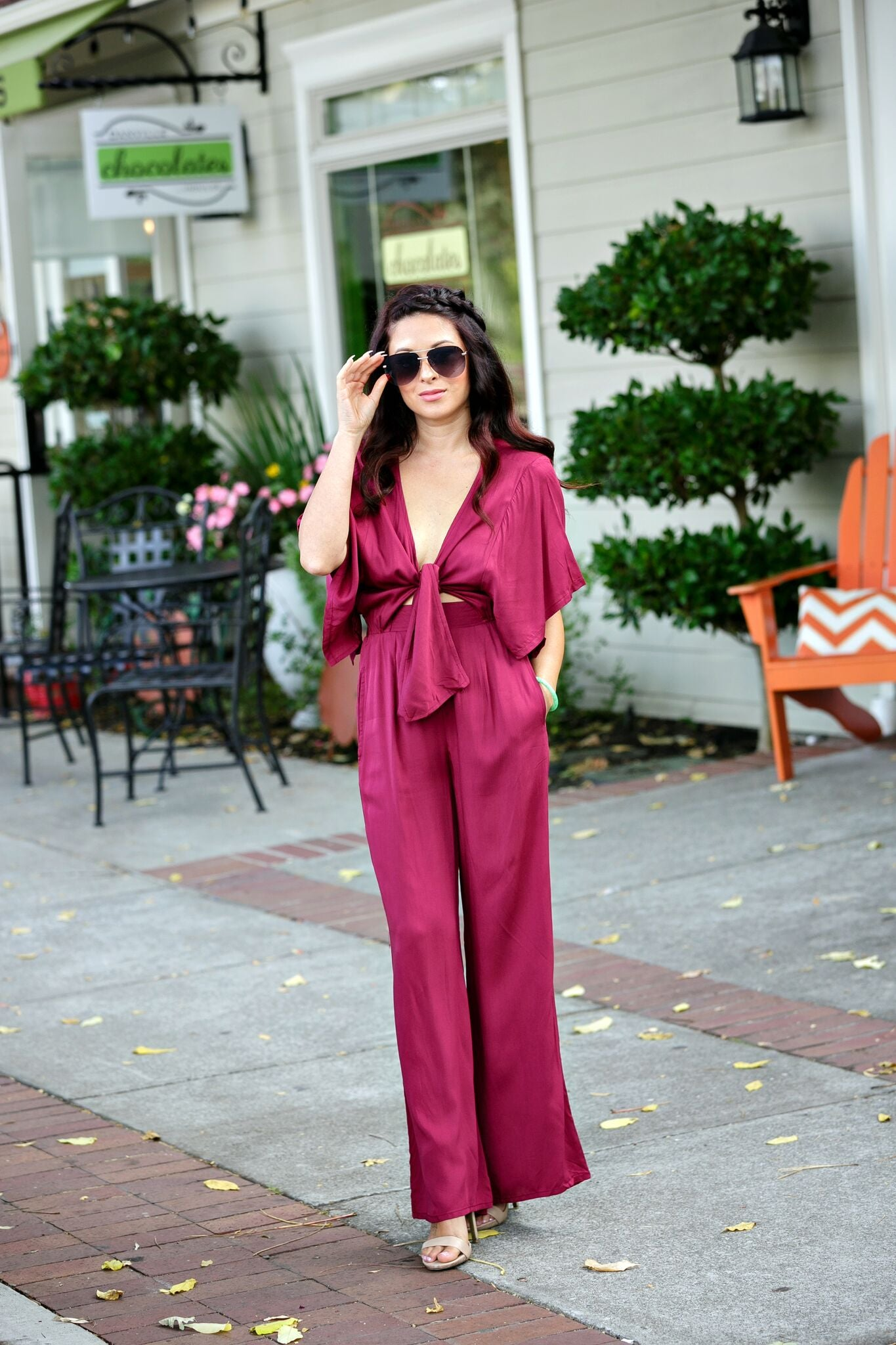Audrey Take Me Away Bow Front Jumpsuit-Burgundy - Ella J Boutique