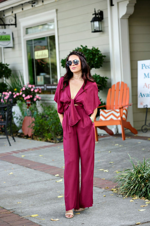 Audrey Take Me Away Bow Front Jumpsuit-Burgundy