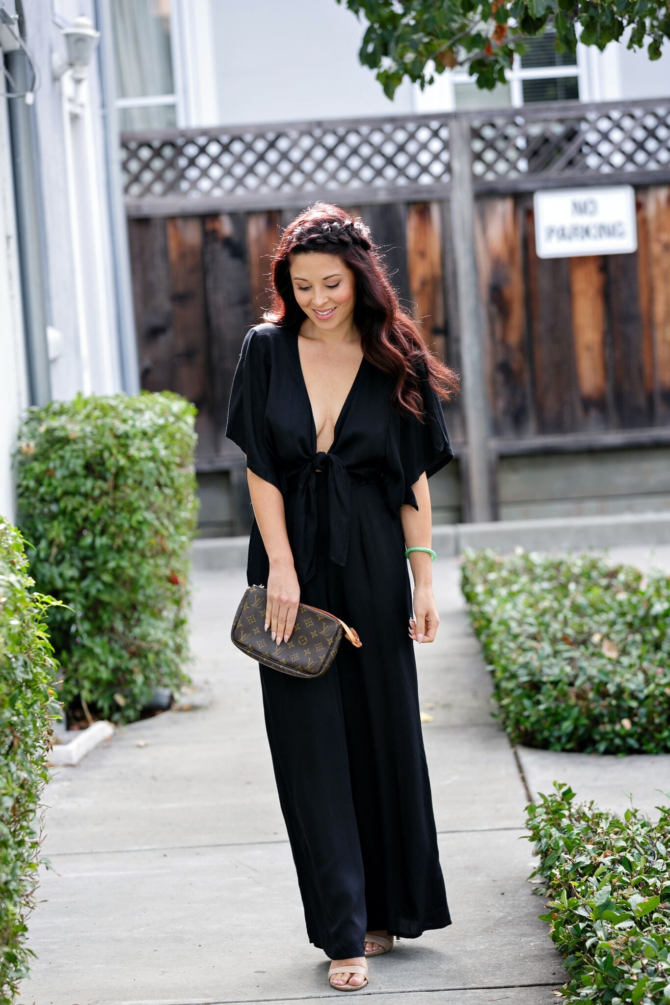 Take Me Away Bow Front Jumpsuit-Black