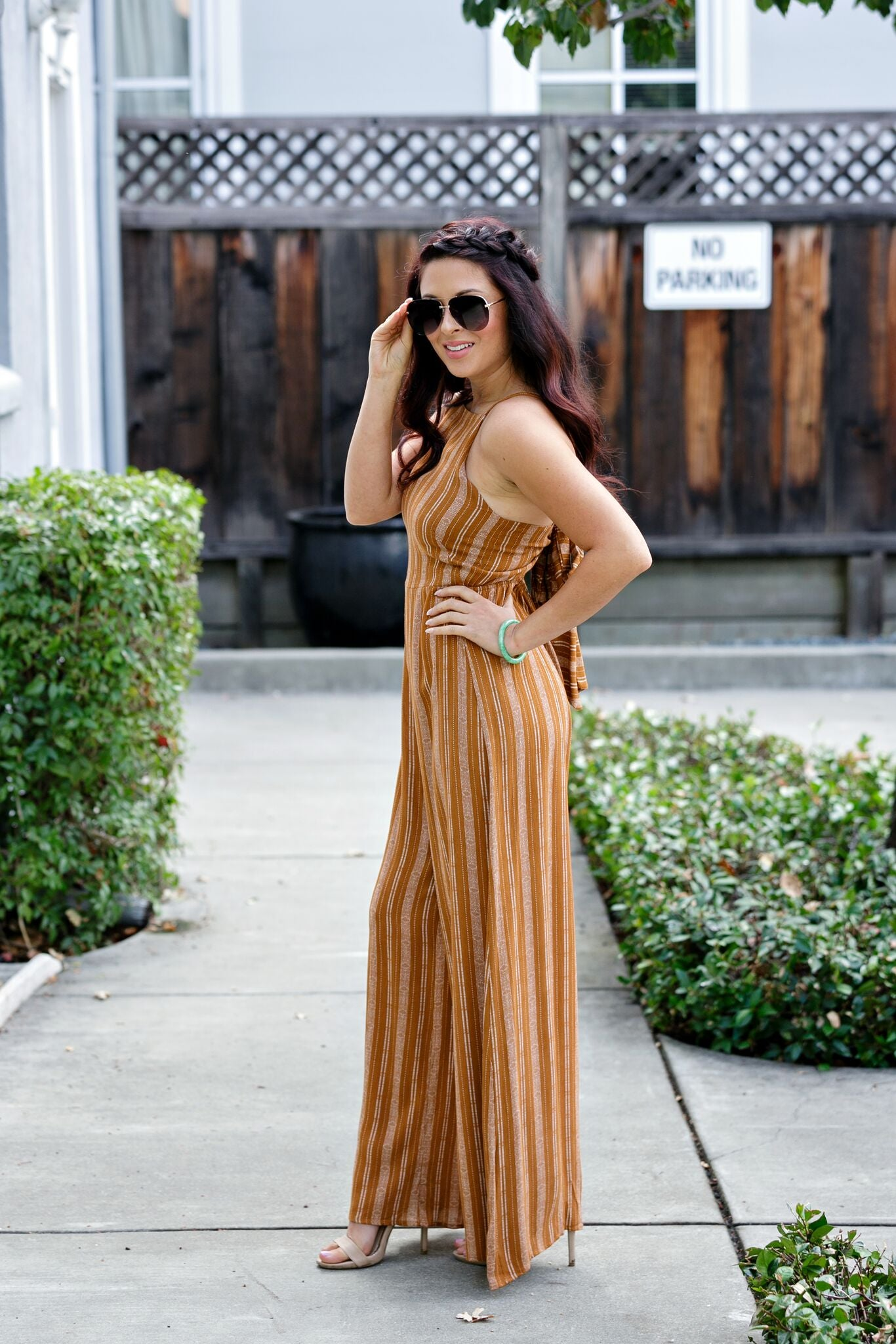 Vintage Bow Back Jumpsuit-Mustard