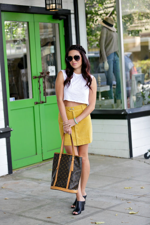 Cotton Candy Corduroy Mini Skirt w/hidden zipper - Mustard