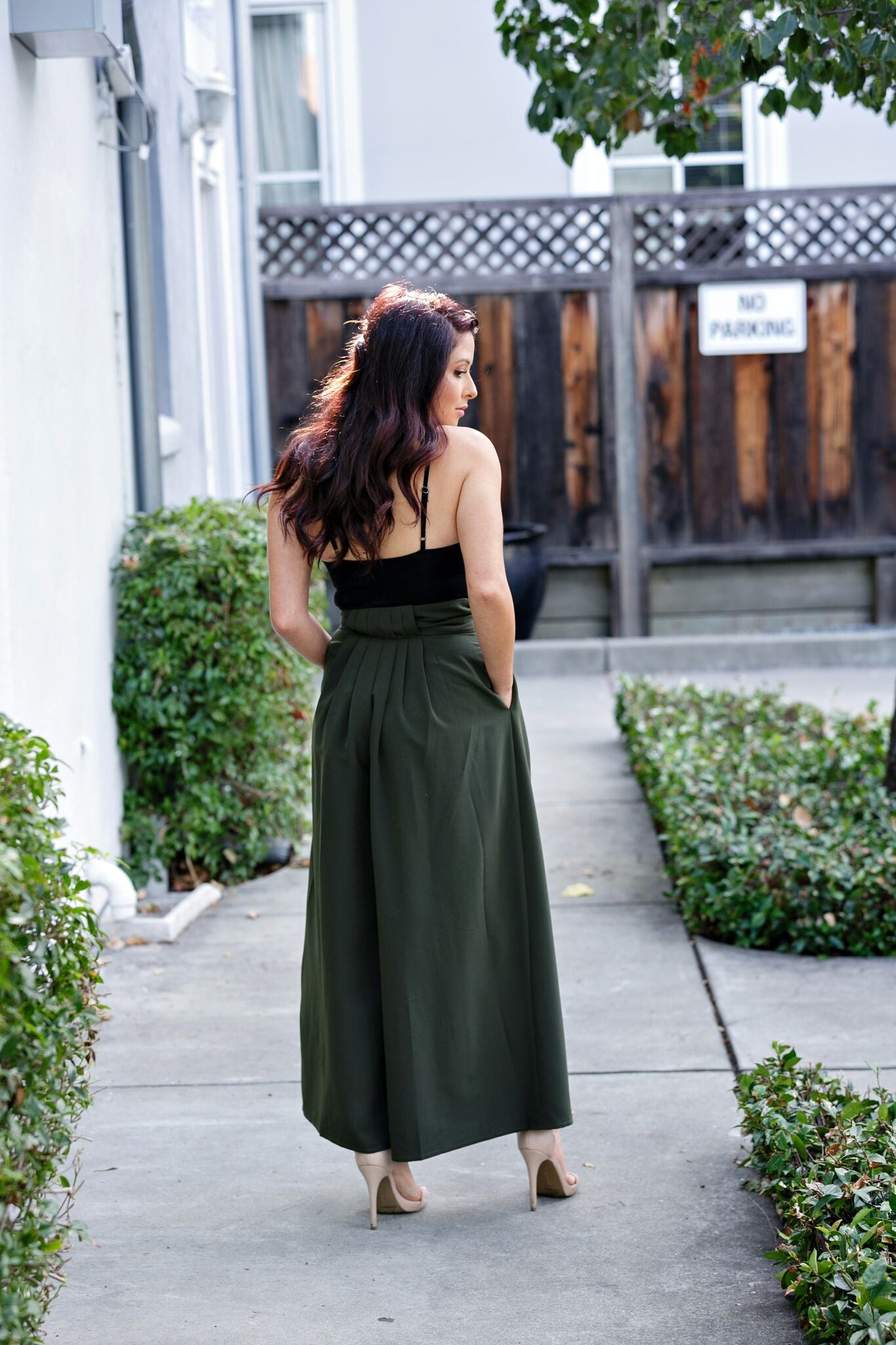 Wide Leg Paper Bag Waist Pants - Olive