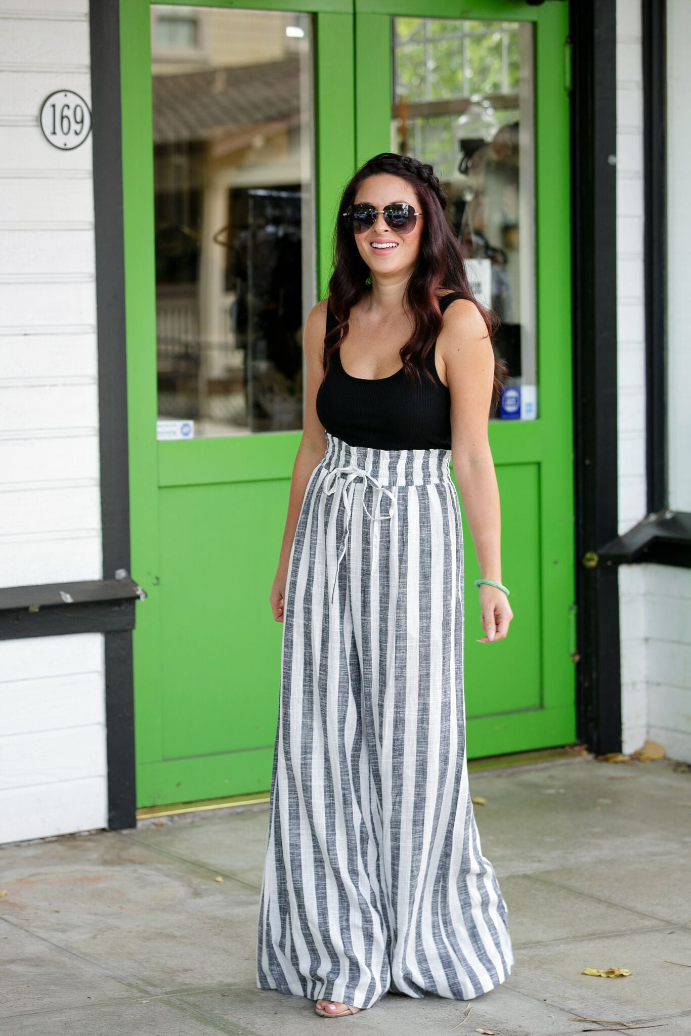 Solid Contrast Stripe Jumpsuit-Black with B/W Stripes