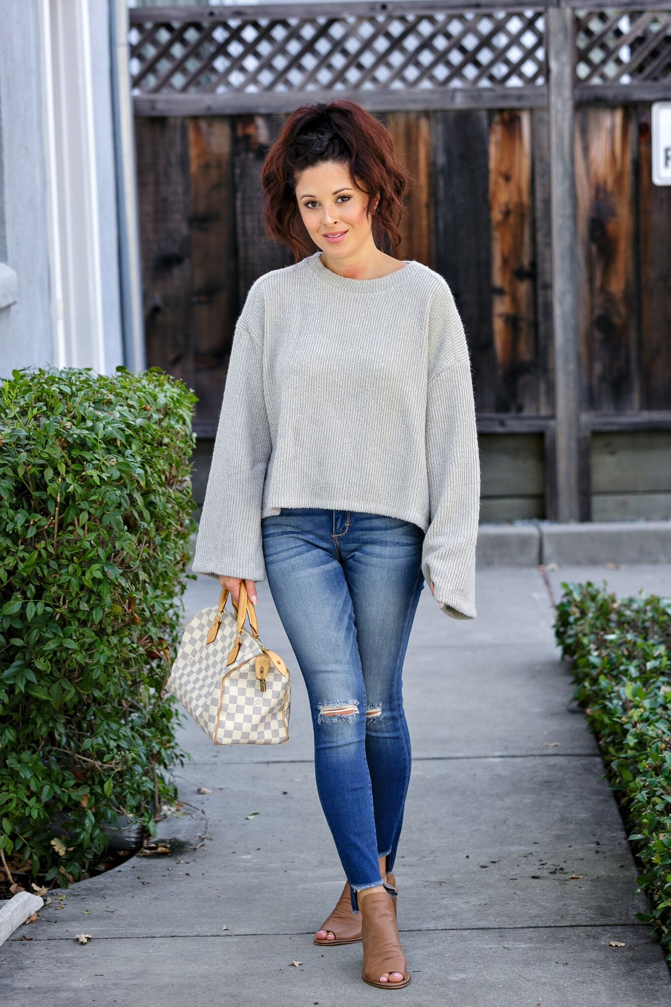 Loose Rib Crop Wide Sleeve Sweater - Light Grey