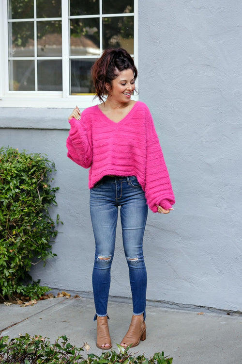 Cotton Candy Bishop Sleeve V-Neck Fuzzy Sweater - Pink