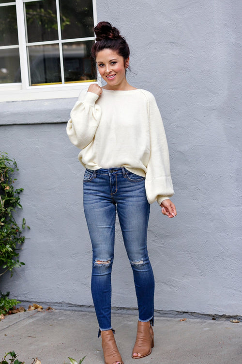 Cotton Candy Bishop Sleeve Round Neck Sweater - Ivory