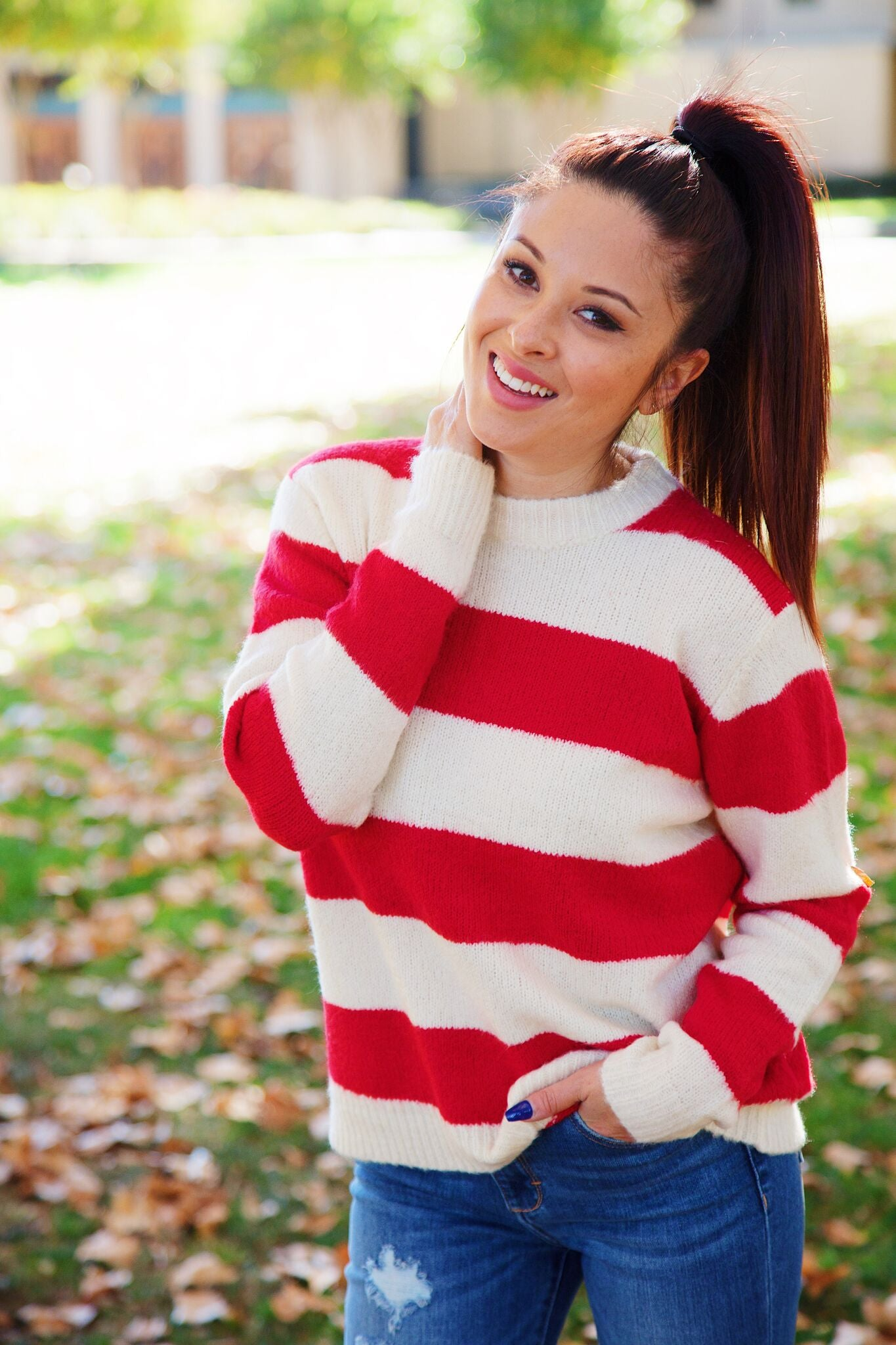 Lost + Wander Asteroid Girl Sweater - Red/White Stripe