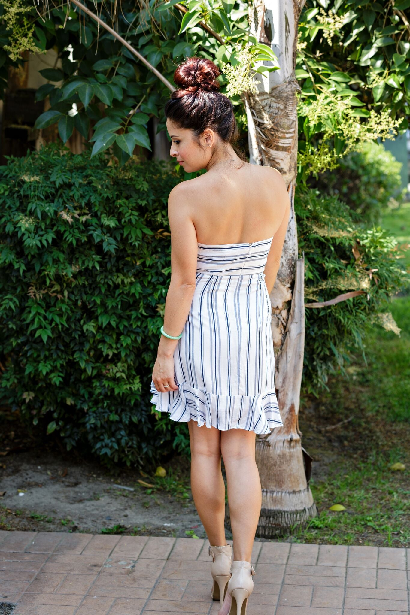 Cotton Candy White Navy Striped Strapless Dress - Ella J Boutique