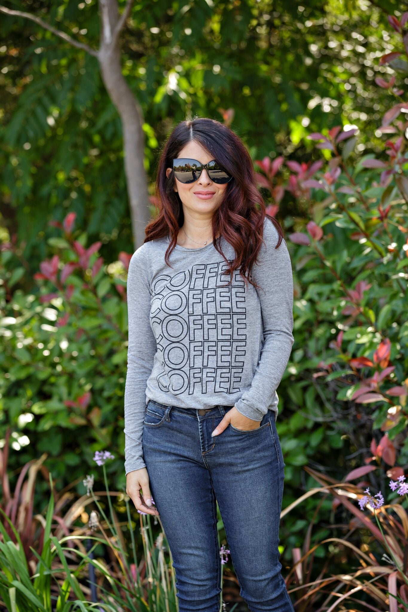Chaser Coffee L/S Crew Neck Shirttail-Streaky Grey - Ella J Boutique