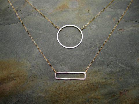 Hammered Shapes Necklace- RECTANGLE