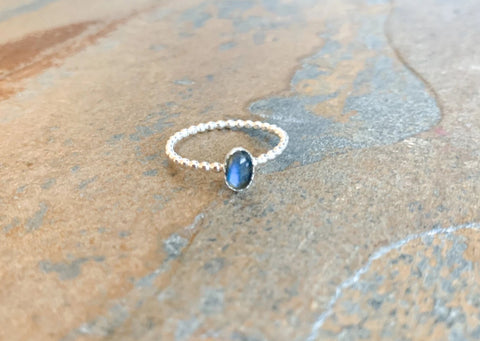 Droplet Labradorite Ring