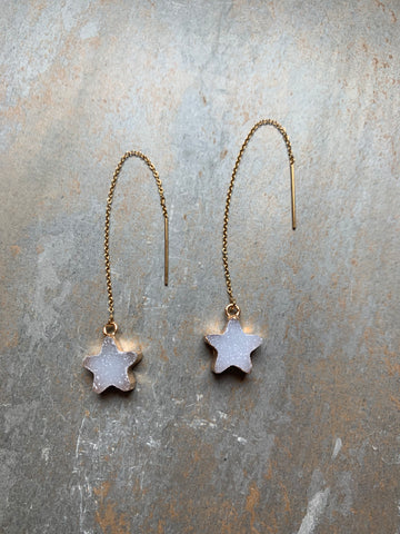 Druzy Star Ear Threaders