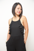 Madeline Jumpsuit with Short Inseams, Black Ruffle Top, and Pleated Black Pants for Petite Women 5'4