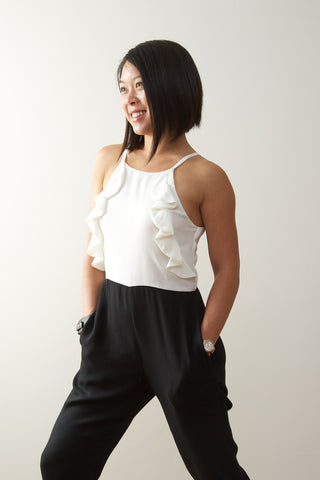 "SAMPLE Sale | Madeline Petite Jumpsuit with Short Inseam for Petite Women XS - Black (27"" Inseam)"