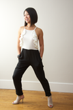 Madeline Jumpsuit with White Ruffle Top and Black Pants for Petite Women 5'4