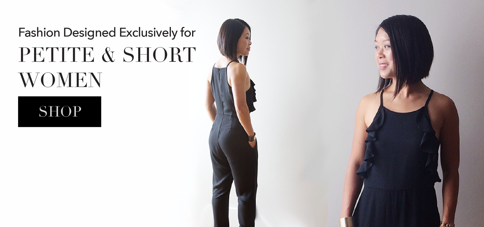 Madeline Jumpsuit with Short Inseams for Petite Women - Black by MADEIRA BRAND at madeirabrand.com