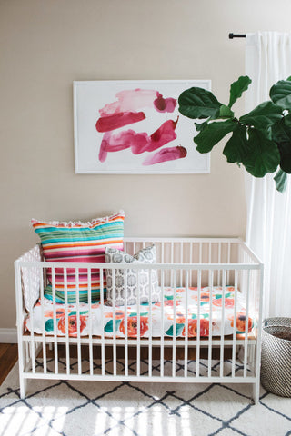 bright florals and southwest modern accents nursery