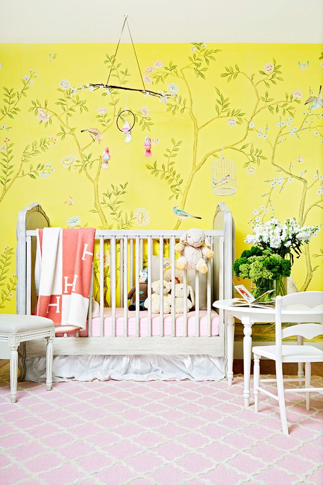 Chinoiserie wallpaper in bright lemon nursery