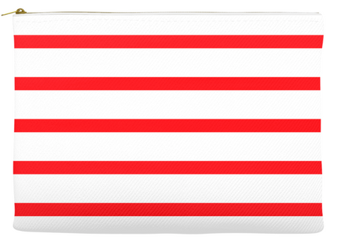 Simplify Diaper Pouch | White with Cherry Red Stripes