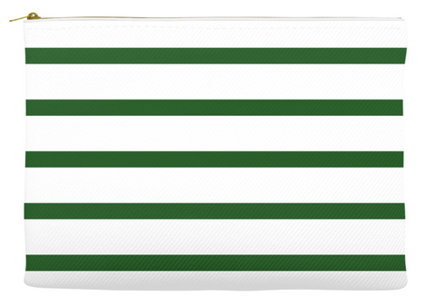 Simplify Diaper Pouch | White with Forest Green Stripes