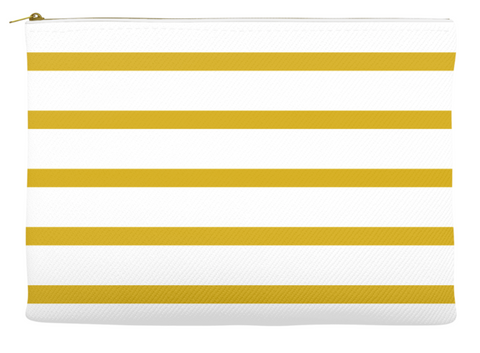 Simplify Diaper Pouch | White with Mustard Yellow Stripes
