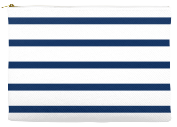 Simplify Diaper Pouch | White with Navy Stripes