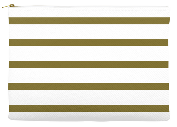Simplify Diaper Pouch | White with Olive Green Stripes