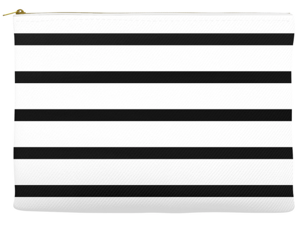 Simplify Diaper Pouch | White with Black Stripes