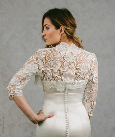Amelia lace wedding jacket in Gold | Silver | Pink