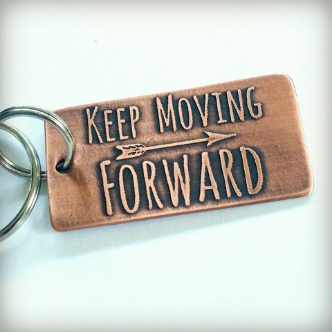 Etched Copper Key Chain - Keep Moving Forward