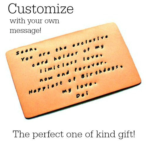 Custom Stamped Copper Wallet Inserts - Brushed Matte Finish