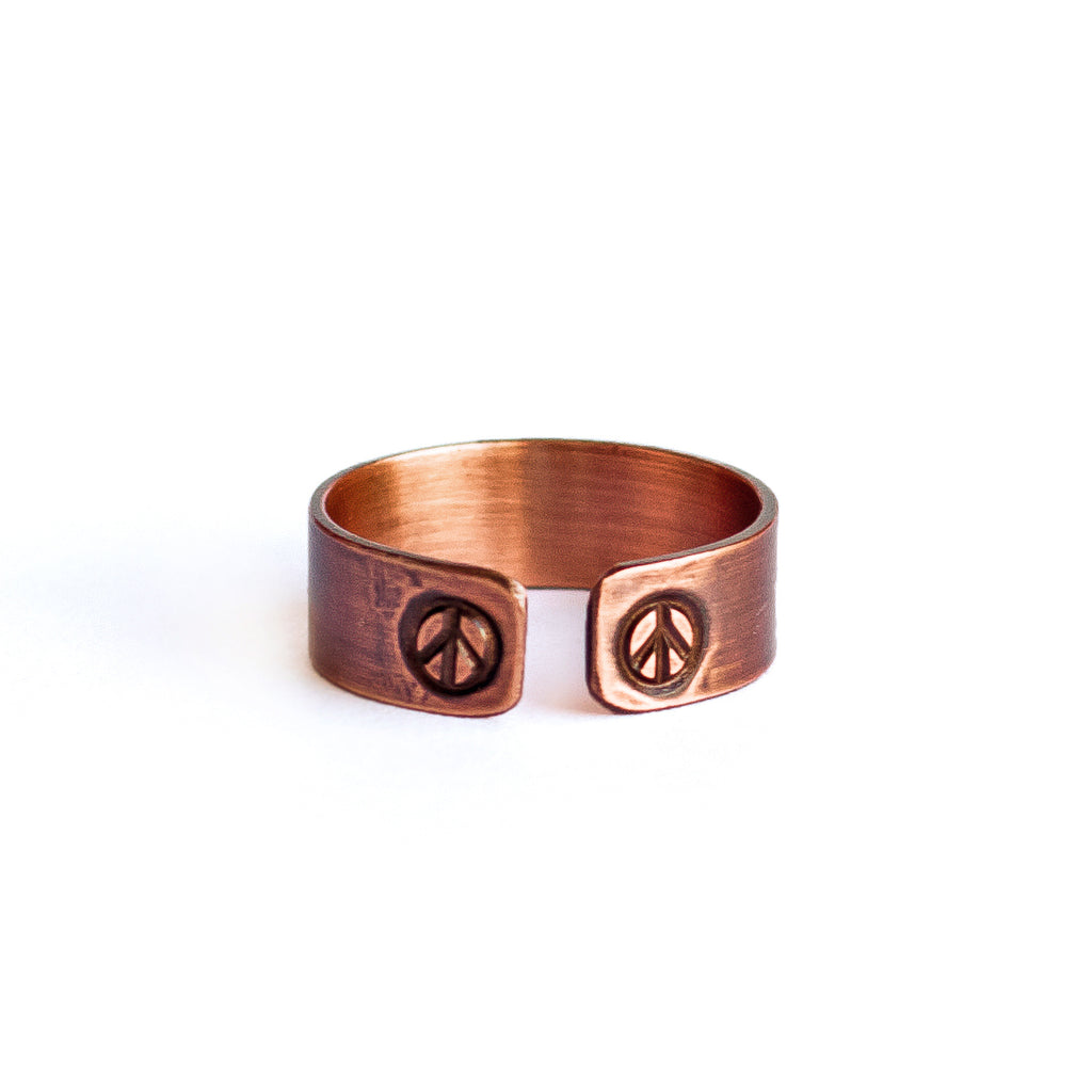 Peace Sign Copper Ring