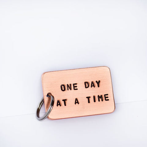 One Day At A Time Copper Keychain