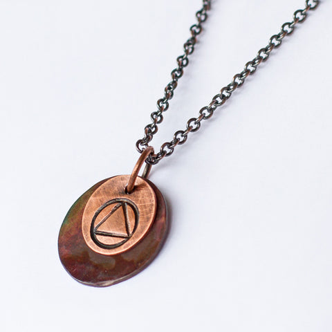 Layered Copper Sobriety Symbol Pendant