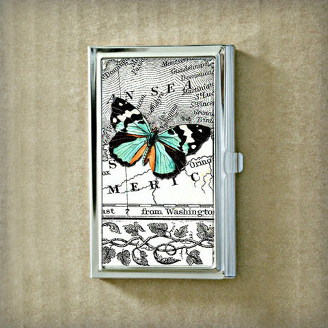 Teal Butterfly and Map Business Card Case