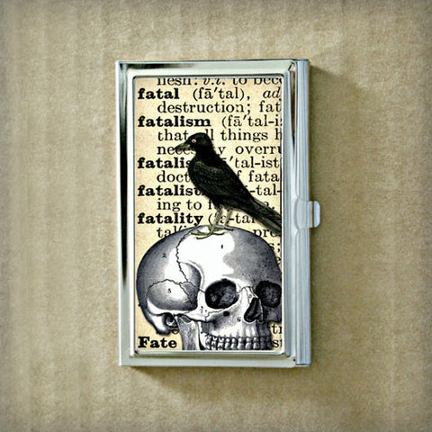 Raven and Skull Business Card Case