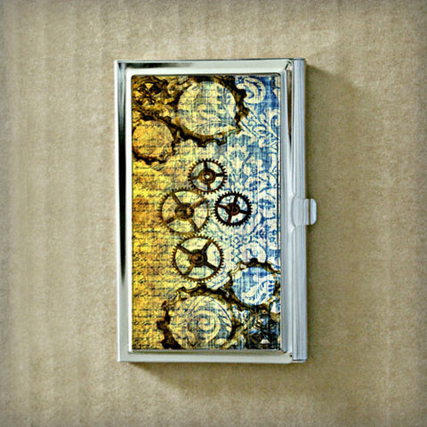 Gears and Damask Business Card Case
