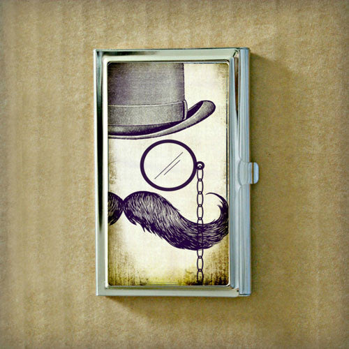 Mustache and Monacle Business Card Case