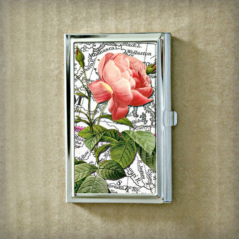 Pink Rose Over Black and White Map Business Card Case