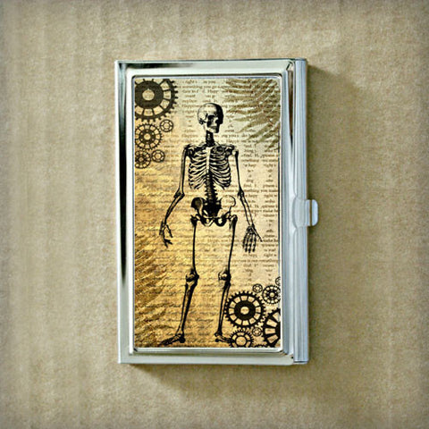 Skeleton with Gears Business Card Case