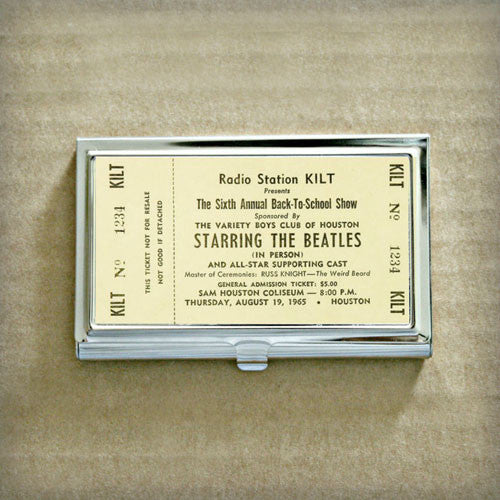 Vintage Beatles Concert Ticket Business Card Case