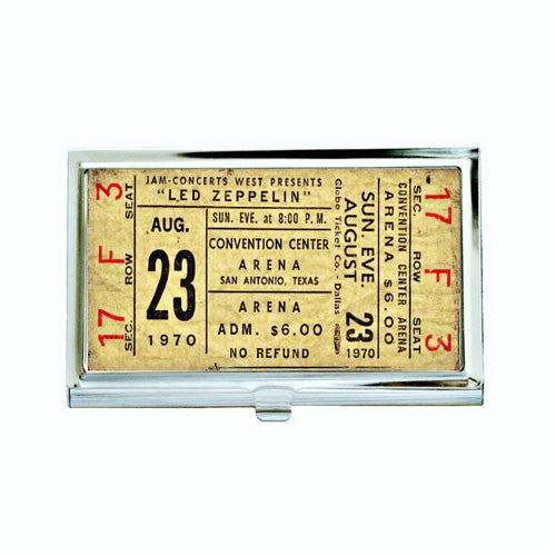 Vintage Led Zeppelin Concert Ticket Business Card Case