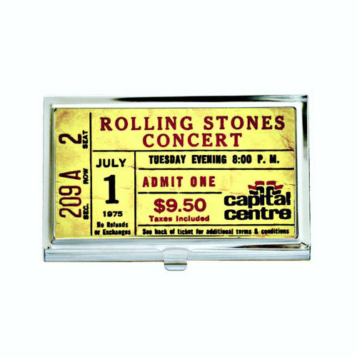 Vintage Rolling Stones Concert Ticket Business Card Case