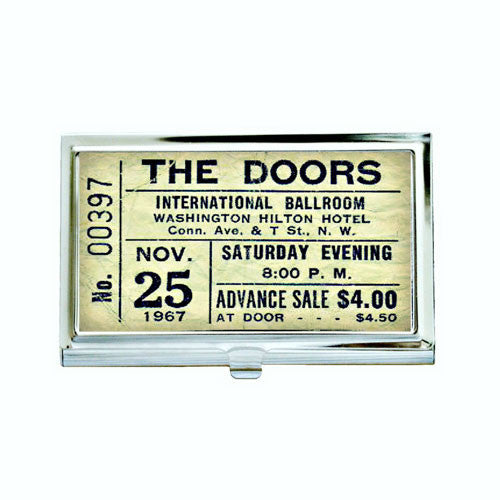 Vintage Doors Concert Ticket Business Card Case