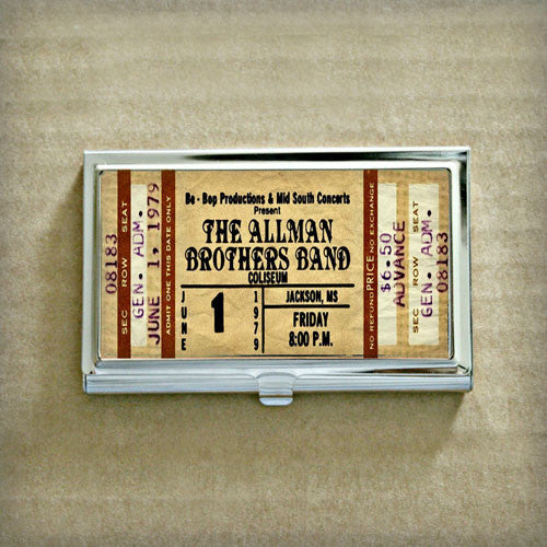 vintage allman brothers band concert ticket business card case