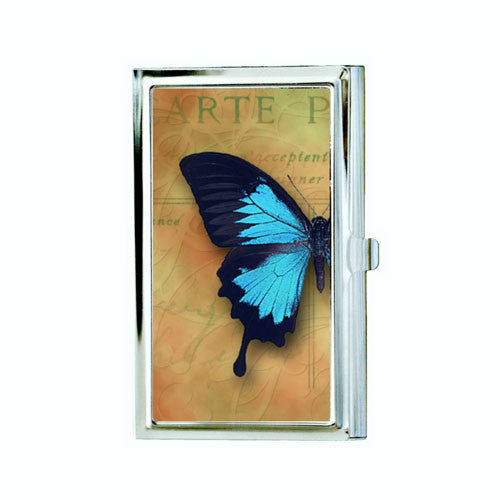 Vintage Blue Butterfly Business Card Case
