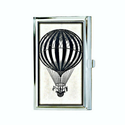 Black and White Hot Air Balloon Business Card Case