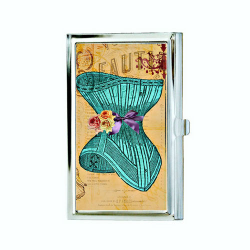 Victorian Teal Corset Business Card Case