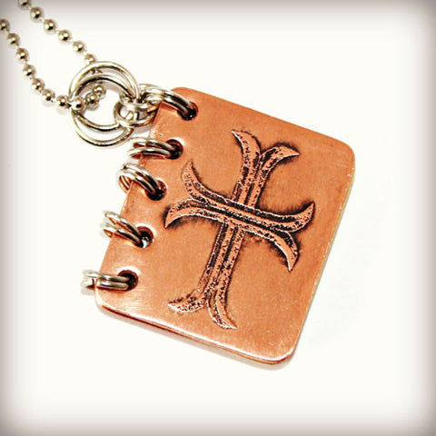 Be Still and Know That I Am God - Metal Book Pendant