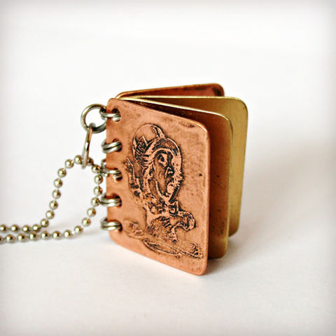 We Are All Mad Here - Metal Book Pendant